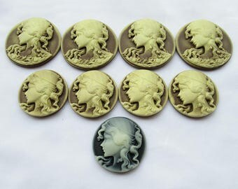 2pcs Round Resin Cameo Victorian Lady Cameo 30mm 38mm s027