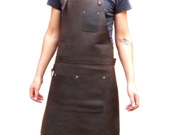Leather Apron, Chefs Apron, Rugged Leather Apron, Men's Leather Work Apron with Pockets, Tremo Deluxe Silver Hardware AP1b
