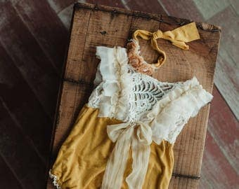 Mustard and lace romper set , Sitter size, Pre-order