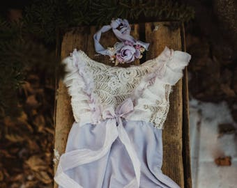 Lilac romper set. sitter size