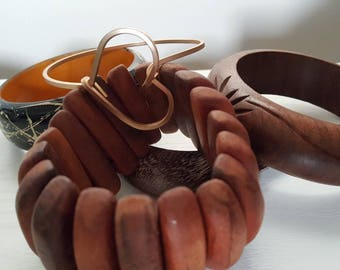 Wood & Copper Bangles