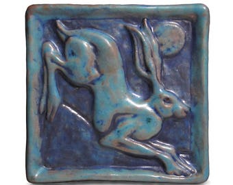 Ceramic Art Tile, Leaping Hare -  Deep Turquoise, 4 x 4 Handmade Tile, Rabbit