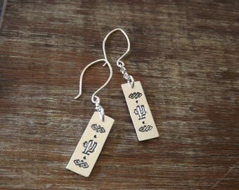 Sterling SilveSterling Silver Stamped Earrings, Cactus Stamped Earrings, Handmade Stamped Earrings on Etsy.