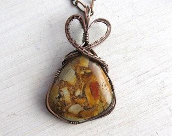 Patchwork Jasper Pendant Necklace - Wire Wrap Copper Jasper Pendant - Copper Jasper Necklace