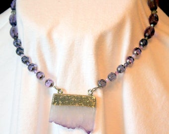 Amethyst Slab Pendant with Purple Faceted Crystal Beads and Silver Toned Leaf Toggle Clasp
