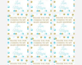 Printable Blue and Gold Favor Tags