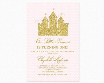 Princess Castle Birthday Party Invitation 2, Castle, Pink, Gold Glitter, Personalized, Printable or Printed