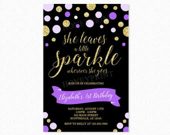 Gold and Purple Sparkle Birthday Party Invitation, She Leaves a Little Sparkle Wherever She Goes, Glitter, Polka Dots, Printable or Printed