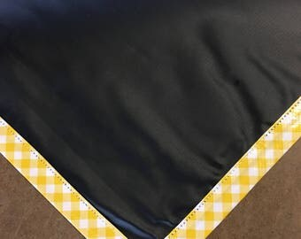 Square Chalk Fabric Tablecloth with Yellow Gingham Trim