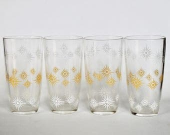 Vintage 1950s Set of 4 Yellow and White Starburst Patterned Drinking Glasses