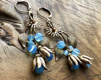 Flower earrings, aqua blue opal, antique brass, bohemian, woodland, garden, romantic