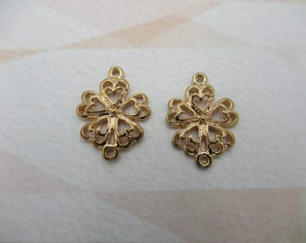 Rose Gold Plated Flower Connectors - Flower Charms - Flower Pendants - Pansy Shape - Filigree findings - 2 Loops - Qty 2 *NEW ITEM*
