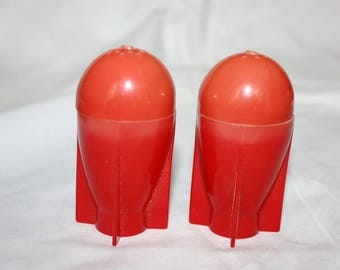 Salt and Pepper Shakers Red Rockets Plastic Mid Century Futuristic