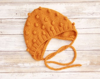 Popcorn Baby Bonnet. Mustard Popcorn Bonnet. Knit Baby Bonnet. Popcorn Baby Hat.