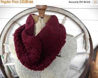 The Garnet Red Crochet Boho Infinity Scarf Neck Cowl. Chunky burgundy neck wrap Festive Fall Autumn Winter Christmas fashion scarf Dark red
