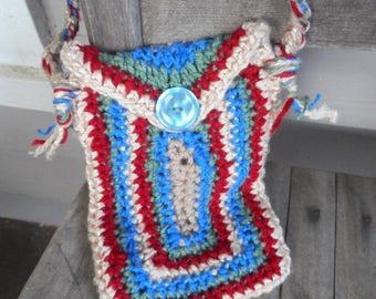 The Emissary Handmade Native Crochet Shoulder Bag Pouch Tribal Shaman Rustic boho Messenger Medicine Tobacco Letter Carrier Courier Nomad