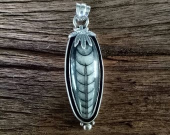 Fossil Pendant - Handmade Sterling Silver and Orthoceras Pendant - One of a Kind Boho Pendant - Orthoceras Fossil Pendant - Fossil Statement