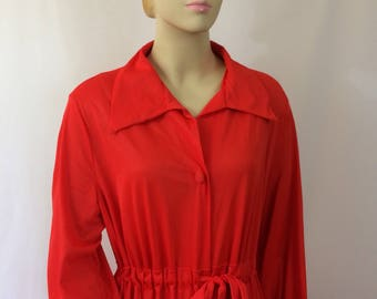 Vintage 1970's Red Long Lounger Robe // Pinup Lingerie//Ladies Med/Large