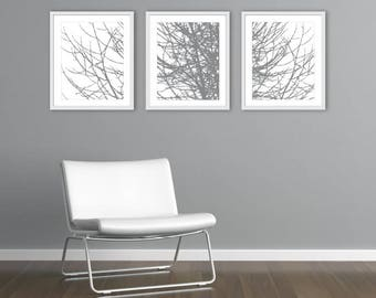 Modern Tree Branches Art Prints, Tree Prints, Tree Wall Art, Branches Wall Art, Tree Artwork, Set of 3 prints, Frames not included