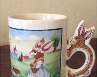 Vintage Kawaill Bunny Love Ceramic  Coffee Mug