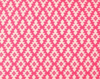 Neon Pink Diamond Geometric Brushed Poly Spandex Knit, 1 Yard