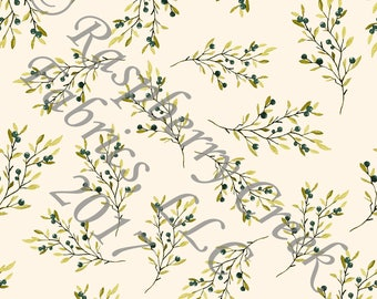 Teal Olive and Ivory Berry Branch Floral 4 Way Stretch Jersey Knit Fabric, Unfettered by Corinne Wells Designs for Club Fabrics