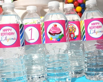 Water Bottle Labels Candy Sweet Shoppe, 1st Birthday, Rainbow Party, Candyland Birthday Party, Sweet Shop, Bubblegum Cupcake - Set of 10