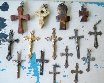 Vintage lot of rosary crucifix & religious crosses - lot of 15 item - rosary pendants - assemblage jewelry making supplies - cheesegrits #48