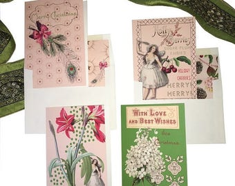 "BLACK FRIDAY SALE Fairy Christmas Card Set- ""Sugar Plum Fairy"" - Pink -Peppermint Scented -Essential Oil-Hydrangea -Amaryllis-Peacock feathe"