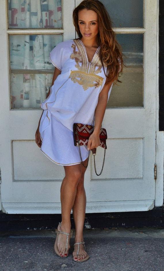Autumn Dress Kaftan White Gold Marrakech Resort Short Tunic Caftan Kaftan ,beach kaftan, resortwear,loungewear, birthdays, winter dress