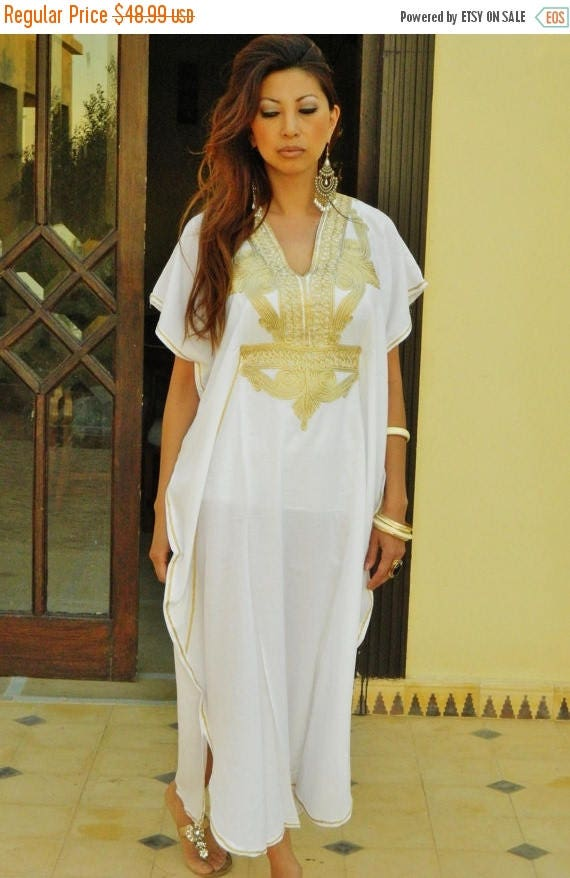 Autumn Dress 20% OFF/ Resort Caftan Kaftan Marrakech Style- White with Gold Embroidery, great for beach cover ups, resort wear, loungewear,