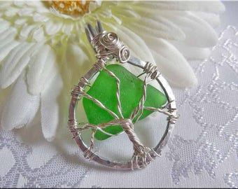 Green Beach Glass Tree of Life Pendant