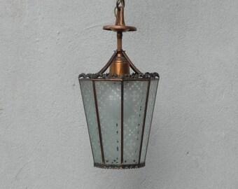 Small Antique Copper Glass Pendant Lamp