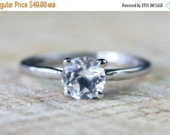 ON SALE Sterling Silver Cubic Ring Zirconia Solitaire Wedding Engagement FREE Shipping Size O / 7.25