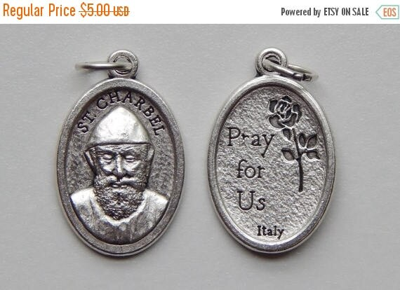 CLOSING SALE 5 Patron Saint Medal Findings, St. Charbel, Pray, Die Cast Silverplate, Silver Color, Oxidized Metal, Made in Italy, Charm, Dro