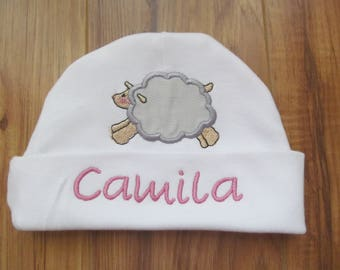 Personalized Baby Beanie Monogram Baby Beanie Personalized Baby Hat Monogram Baby Hat Baby Lamb Hat Baby Shower Gift Baby Sheep Hat