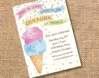 Ice Cream Twins Birthday Invitation Boy Girl Party Double Scoop Invite Ice Cream Cone Baby Shower Watercolor First Birthday Summer Printable