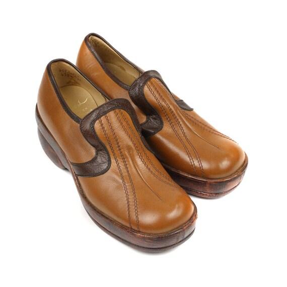 vintage mens platform shoes 1970s stacked heel two tone