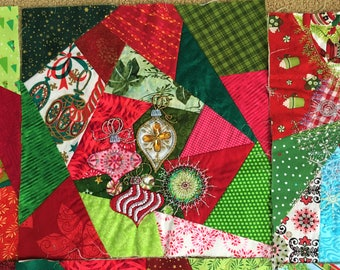 Christmas Quilt Blocks Squares Lot of 6 Crazy Patch Embellishments Vintage and New Fabrics