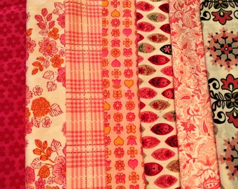 Vintage Fabric Lot of 7 prints Pink Mid-century 1950s and Mod 1960s