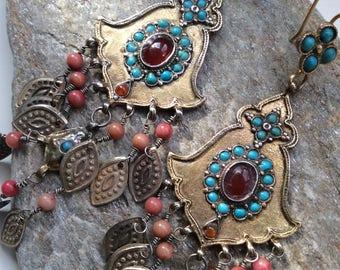 FREE SHIPPING  Vintage uzbek earrings silver dangle gold coral carnelian asian kuchi nomad pashtun