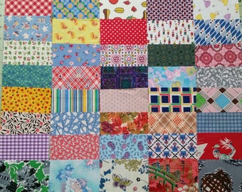 40 Assorted 4 inch Squares of Vintage Cotton and Feedsack Fabrics Fun, Novelty