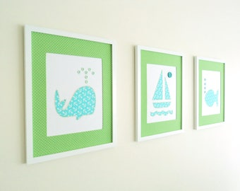 Stitched Fabric Appliqué  Nursery Room Wall Art, Set of 3