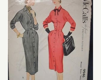 SALE 1950s Sheath Dress Kimono Sleeves Convertible Collar Turned Back Cuffs Belted McCall's 9946 Size 16 Bust 34 Women's Vintage Sewing Patt