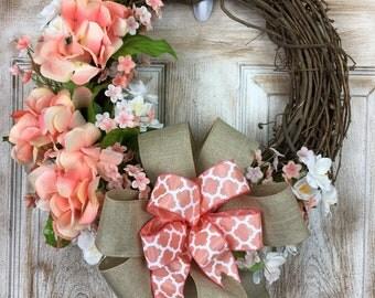 Peach Hydrangea Oval Grapevine wreath