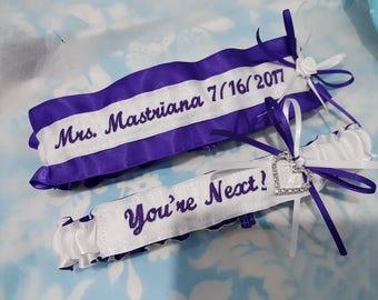Regency Purple wedding garter set - You're Next garter - Name garter - Mrs - white garter set - surname garter - monogrammed - rose garter