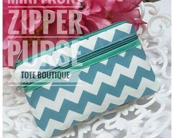 mini front zipper purse zigzag