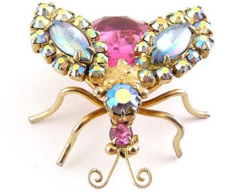 Pretty Pink & AB Rhinestone Large 1960s Flying Insect Bug Pin