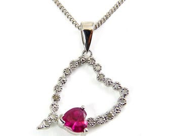 Sterling Silver Open Heart with Ruby Heart Solitaire & Diamonds, Sterling Necklace