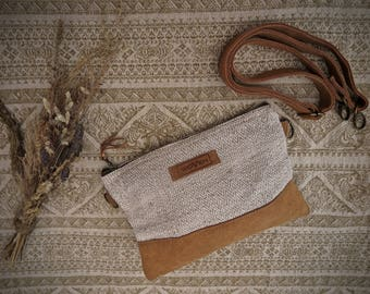 Side Purse Bag E book Notebook case with removable strap Made of Handwoven nettle and hemp Fabric Fair trade